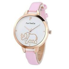 Adult / Teen - GOLD ELEPHANT Quartz Watch with BABY PINK Strap