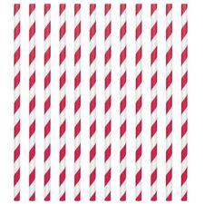 Stripe Paper Drinking Straws Red Deluxe Vintage Retro Birthday Wedding UK 24
