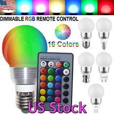 1-10Pack LED RGB Bulb Remote Lamp E27 E26 E14 B22 GU10 MR16 Light Energy Saving
