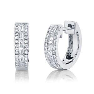Baguette Diamond Huggies Earrings 14K White Gold Small Hoops 0.34CT Channel Set