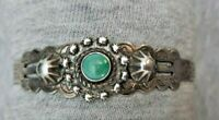 Navajo FRED HARVEY CUFF BRACELET SILVER  ARROW FINE STAMPING Turquoise