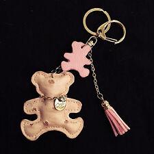 DESIGNER ACCESSORY - Pink Beige Teddy Bear Ostrich Leather Keychain Purse Charm