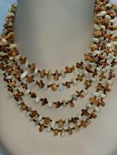 Vintage 1960s Orange Brown Beige Small Polished Stones 5 Tiered Necklace 15""