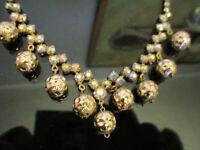 Vintage Aurora Borealis Crystal Rhinestone Gold Bead Dangle Choker Necklace!