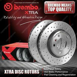 2x Rear Brembo Drilled Disc Brake Rotors for Abarth 500 595 695 C 312 2008 - On