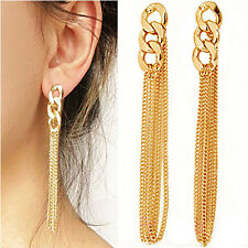 Hot Women's 1 Pair Long Tassel Dangle Gold Plated Ear Stud Hook Earrings Jewelry