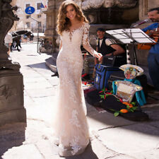 Mermaid Long Sleeve Lace Tulle Wedding Dress Champagne V Neck Bridal Gown Custom