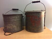Lot 2 Vintage Galvanized Fishing Minnow Pail Buckets