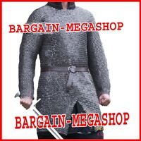 Chain Mail Shirt Armour Large 10 Mm Flat Riv W Washer Medieval Haubergeon Armour