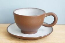 Chinese Yixing Pottery Tea cup/ saucer set, marked, crackling