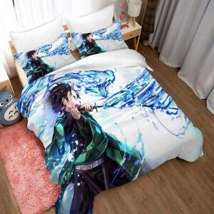 Demon Slayer Bedding Set 3PCS Duvet Cover Pillowcases US Size Comforter Cover