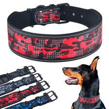Camo Reflective Dog Collar Small Medium Large Quality Soft Padded 4/5cm Wide