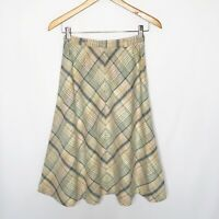 VTG John Meyer Wool Plaid Skirt Midi Length Size Small 6 A-line Pastel Pink