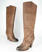 Sam Edelman Naharra Knee-High Brown Leather British Toe Pull On Booties Size 6.5
