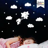 Leuchtaufkleber Kinderzimmer Hase Luftballon Sterne leuchten im Dunklen Rabbit