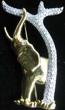 Swarovski Swan Signed Golden Elephant RH Tree Pin Jewelers Collection Brooch