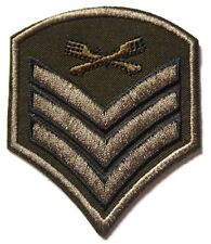 Sergeant Stripes Embroidered Iron Sew On Patch Military Army Cavalry