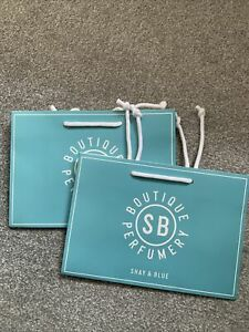 """SHAY & BLUE---2 X GIFT BAGS---9"""" X 6.25"""" X4.5""""--BLUE & WHITE--NEW"""