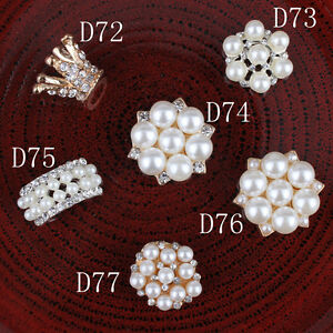 30p Crystal Pearl Buttons Alloy Flatback Rhinestone Buttons for Hair Accessories
