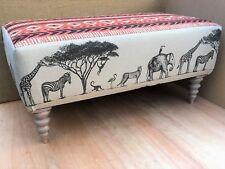 NEW Handmade & Sewn Footstool in Art of the Loom 'Exodus' & 'Serengeti' Fabrics