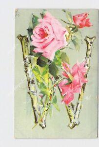 PPC POSTCARD BIG LETTER ALPHABET BIRCH BRANCH W M ROSES FLOWERS