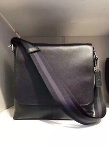 Coach Men Charles F28576 Leather Flap Black Messenger 223742JAX $375 NWT