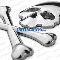 Chrome Car Skull Crossbones Demon Skeleton Metal Emblem Badge Logo Decal Sticker