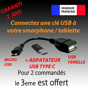 CABLE OTG ADAPTATEUR USB FEMELLE USB MICRO MALE + USB TYPE C GALAXY S9 LG G6 G5