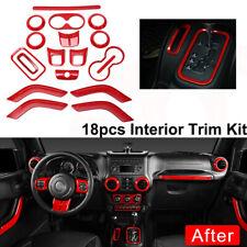18x Red Car Interior Accessories Decor Trim Cover For Jeep Wrangler JK 2011-2017