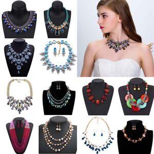 Fashion Bib Crystal Jewelry Choker Chunky Statement Pendant Women Necklace Chain