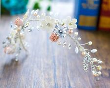 Gorgeous Bridesmaids Bridal Flower Vintage Style Pearl Crystal Hair Piece Tiara