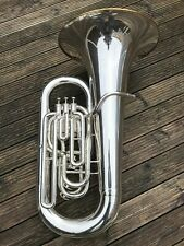 Besson BE784-2 International EEb Tuba-Silver With Gold Plated Inner Bell & Rim-