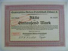 Aktie Elektrizitäts-Aktien-Gesellschaft Zittau 1000M vom 7.4.1923