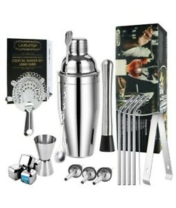 Cocktail Making Set 19pcs Stainless Steel With Boston Cocktail Shaker Home Bar