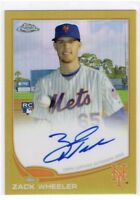 2013 Topps Chrome Zack Wheeler RC Rookie Gold Refractor Auto 🔥🔥🔥out Of #50