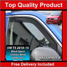 VW T5 TRANSPORTER GENUINE CLIMAIR FRONT WIND DEFLECTORS DARK SPORT 2010-15 TINT