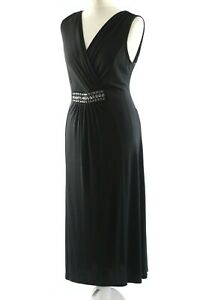 M&S Woman Size 14 Ladies Black Beaded Dress, Party Special Occasion