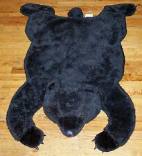 """Large 46'"""" Black Bear Chrisha Playful Plush Faux Fur Bear Skin Rug Child's Room"""