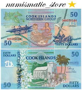 Cook Islands 50 Dollars 1992 P.10 serial:BBB UNC #744#
