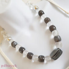 """Clear Grey Acrylic Faceted Barrel Silver Tone Round Bead Necklace 51cm 20""""[1796]"""