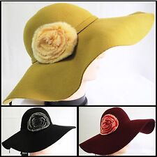 Soft Vintage 100% Wool Felt Women Lady Wide Brim Floppy hat with Bow Knot