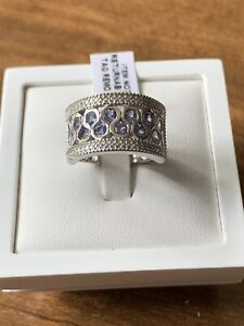 Tanzanite Plat Overlay Sterling Silver Band Ring Size N