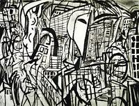 """DDR-Kunst. """"Vindelizien"""", 1986. Radierung Veit HOFMANN (*1944 D), handsigniert"""