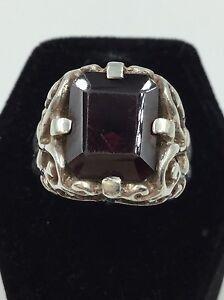 Women's Size 8 Sterling Silver 925 MASSIVE Red Garnet Emerlald Cut Filigree Ring