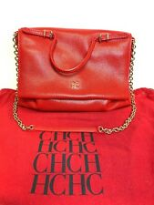 AUTHENTIC Carolina Herrera  Leather HANDBAG  Red Leather Minuetto Flap Bag