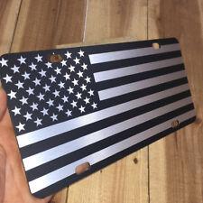 "1/8"" Brushed Aluminum Composite HD American Flag License Plate Matte Black"