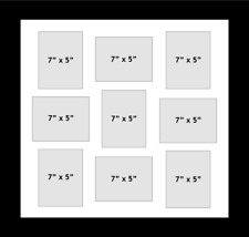 """Multi Aperture Photo fits 9 photos 7""""x5"""" inches multi-picture frame black mount"""