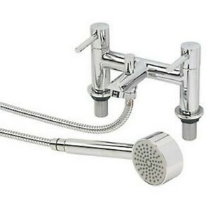 SWIRL ESSENTIAL DECK-MOUNTED DUAL LEVER BATH / SHOWER MIXER BATHROOM TAP