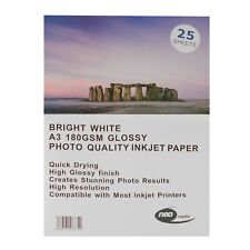 Neo Bright White A3 180gsm glossy photo inkjet paper 25 sheets