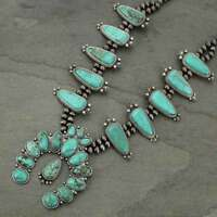 *NWT* Full Squash Blossom Natural Turquoise Necklace-7317510089
